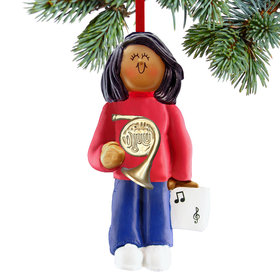 French Horn Player Female Christmas Ornament