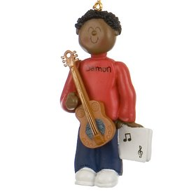 Personalized Ethnic Guitar Player Male Christmas Ornament