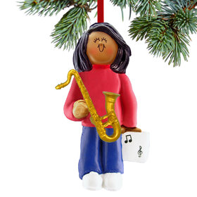 Saxophone Player Female Christmas Ornament