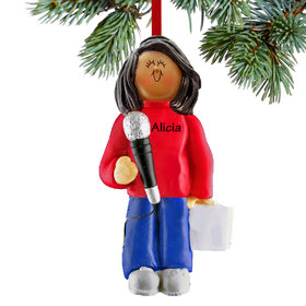 Personalized Singer with Microphone Female Christmas Ornament
