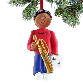 Personalized Trombone Player Male Christmas Ornament