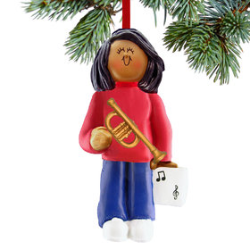 Trumpet Player Female Christmas Ornament