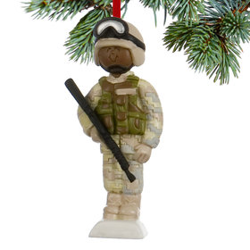 Personalized Soldier in Fatigues Christmas Ornament