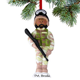 Personalized Ethnic Soldier in Fatigues Christmas Ornament