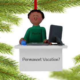 Personalized Work From Home Computer Male Christmas Ornament