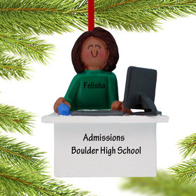 Personalized Computer Female Christmas Ornament