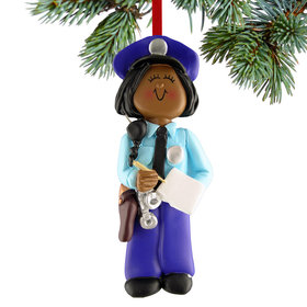 Personalized Policewoman Writing a Ticket Christmas Ornament
