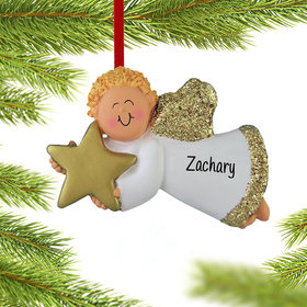 Personalized Angel with Gold Star (Boy) Christmas Ornament