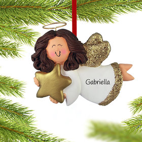 Personalized Angel with Gold Star (Girl) Christmas Ornament