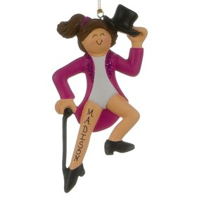 Personalized Tap Dancer with Black Top Hat and Cane Christmas Ornament