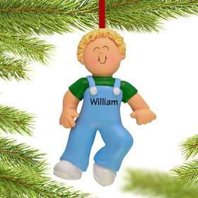 Personalized Baby's First Steps Boy Christmas Ornament