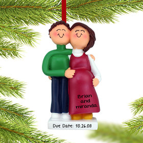 Personalized Pregnant Couple Christmas Ornament