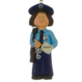 Personalized Policewoman Christmas Ornament