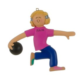 Personalized Bowler Female in a Pink Shirt Christmas Ornament