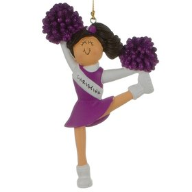 Personalized Cheerleader with Purple Glitter Pom Poms Christmas Ornament