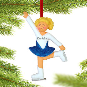 Personalized Ice Skater with Glitter Skirt Christmas Ornament