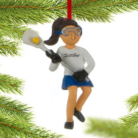 Personalized Lacrosse Female Christmas Ornament