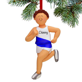 Personalized Runner Male Christmas Ornament