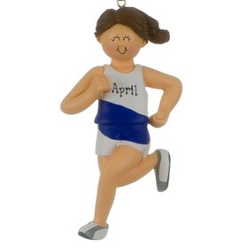 Personalized Runner Female Christmas Ornament