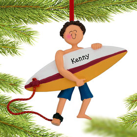 Personalized Surfer Male Christmas Ornament