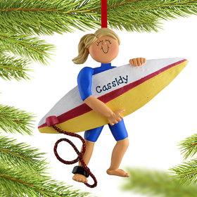 Personalized Surfer Female Christmas Ornament