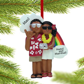 Personalized Vacation Couple Christmas Ornament