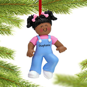 Personalized Baby's First Steps Girl Christmas Ornament