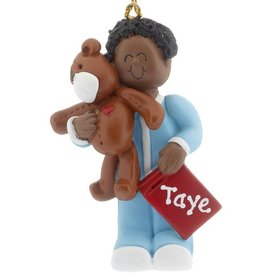 Personalized Ethnic Toddler with Teddy Bear Christmas Ornament
