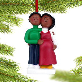 Pregnant Couple Christmas Ornament