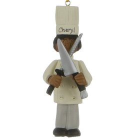 Personalized Chef Female Christmas Ornament