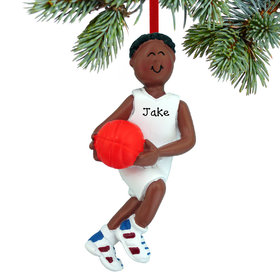 Personalized Basketball Male Christmas Ornament
