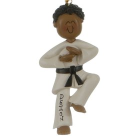 Personalized Ethnic Karate Male Christmas Ornament