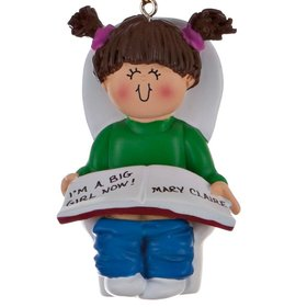 Personalized Potty Training Girl Christmas Ornament