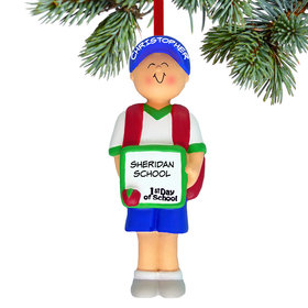 Personalized First Day of School Boy Christmas Ornament