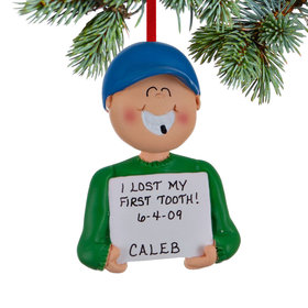 Personalized Lost a Tooth Boy Christmas Ornament