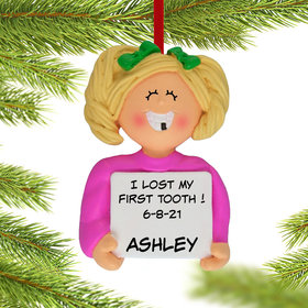 Personalized Lost a Tooth Girl Christmas Ornament