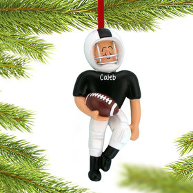 Personalized Football Player Black Uniform Christmas Ornament