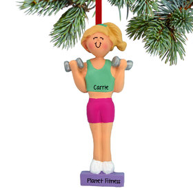 Personalized Weightlifter Female Christmas Ornament