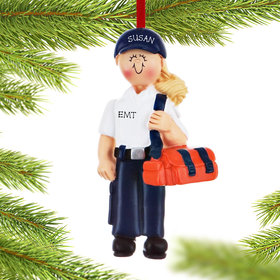 Personalized EMT or Delivery Person Female Christmas Ornament