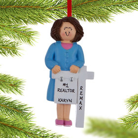 Personalized Real Estate Female Christmas Ornament