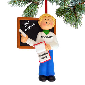 Personalized Teacher Male Christmas Ornament
