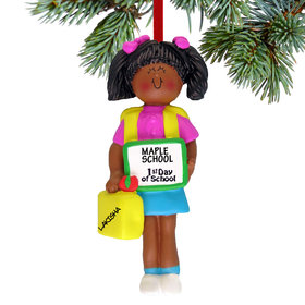Personalized First Day of School Girl Christmas Ornament