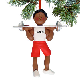 Personalized Weightlifter Male Christmas Ornament