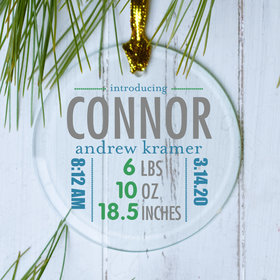 Personalized Birth Stats Boy Christmas Ornament
