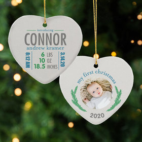 Personalized New Baby Boy Stats Christmas Ornament