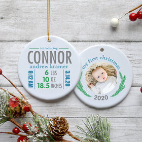 Personalized Birth Stats Boy Photo Christmas Ornament