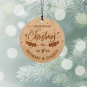 Personalized Our First Christmas as Mom and Dad Christmas Ornament