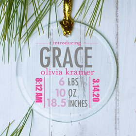 Personalized Birth Stats Girl Christmas Ornament