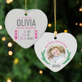Personalized New Baby Girl Stats Christmas Ornament