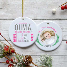 Personalized Birth Stats Girl Photo Christmas Ornament